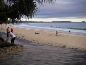 Noosa Main beach waking up.