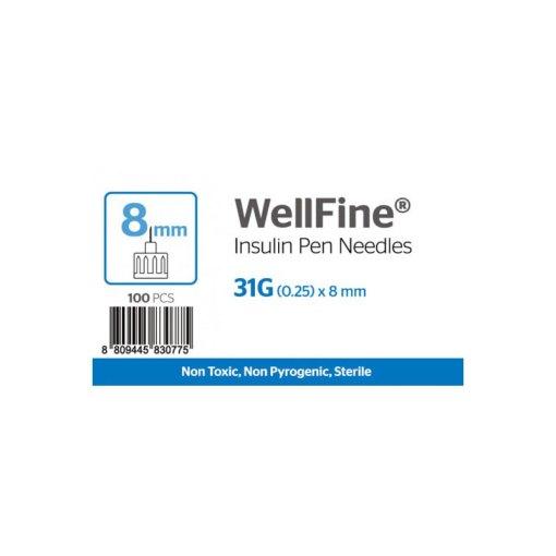 WellFine Insuline Pen needles 31G (0.25) x8mm