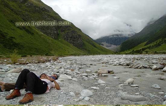 Myself and Devkant at Pushpawati River bed after lunch