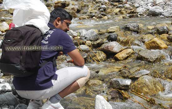 My group mate Mr. S P Singh just before crossing a shallow river