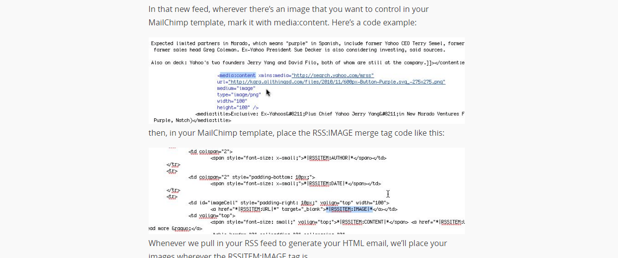Formatting Your Custom RSS Feeds For MailChimp Full Service - Mailchimp template tags