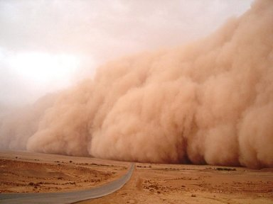 A dust storm.