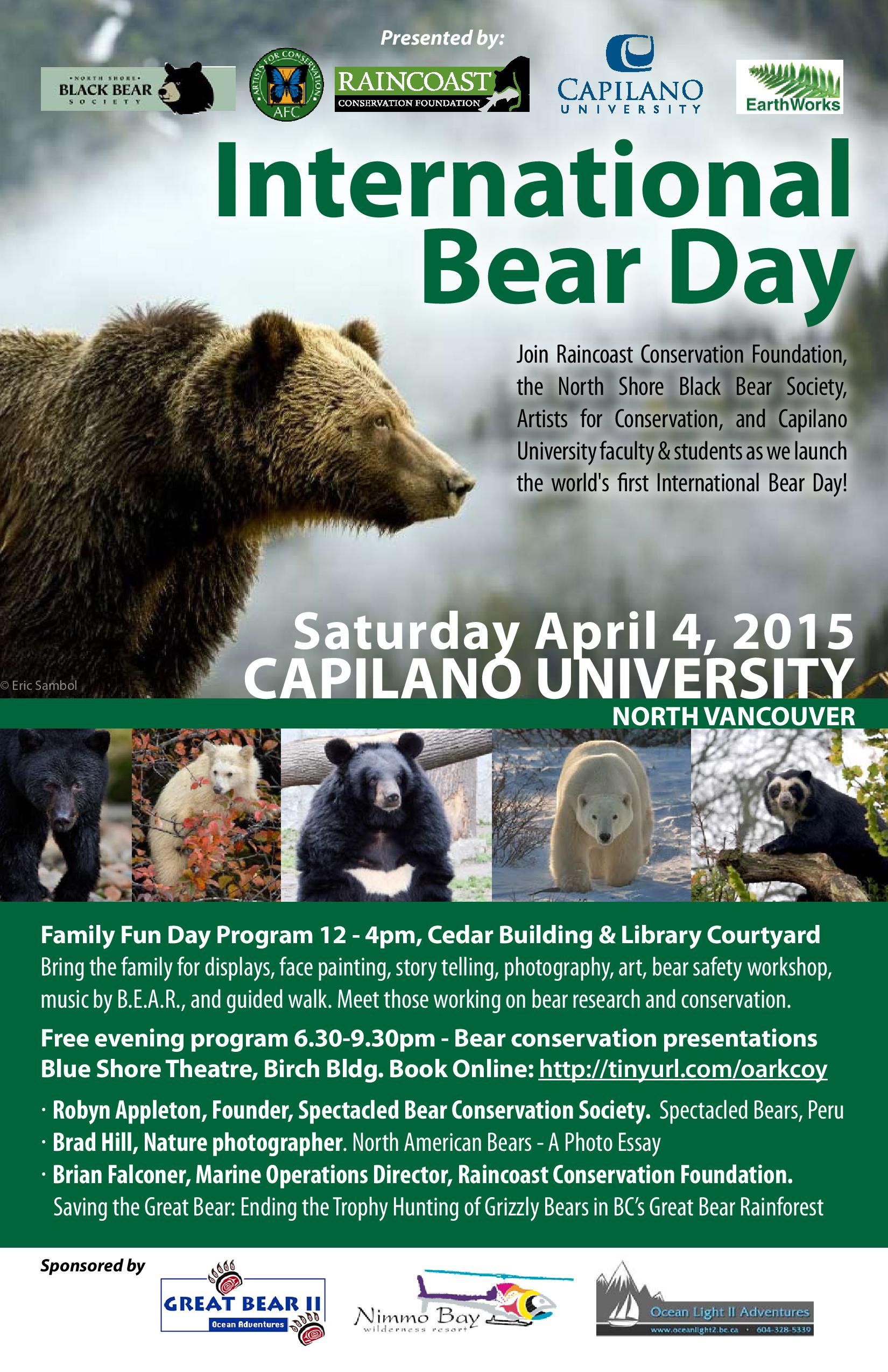 International Bear Day – Cap U Saturday April 4th
