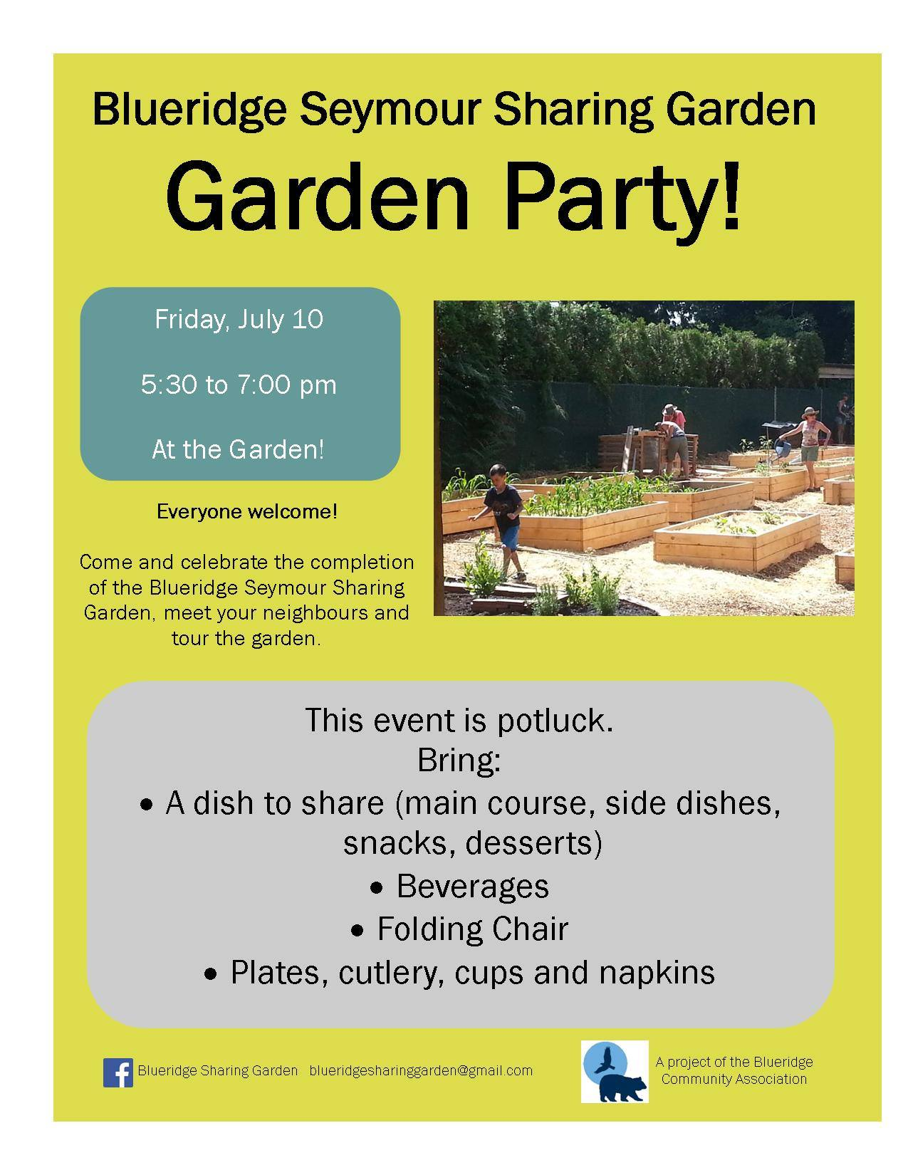 Blueridge Sharing Garden PARTY! Friday July 10th