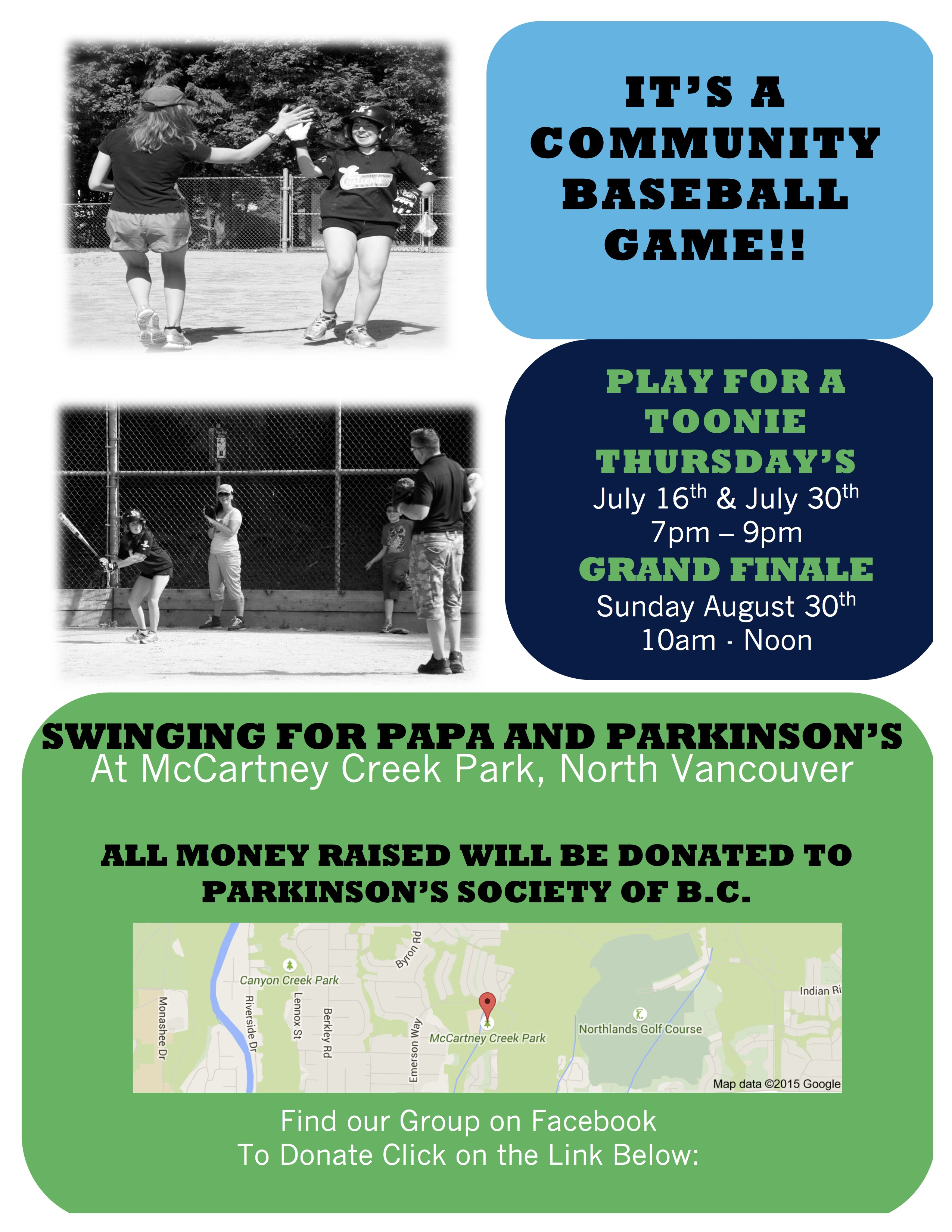 Community Baseball FINAL Game Sunday August 30th 10 am – noon at McCartney Creek Park
