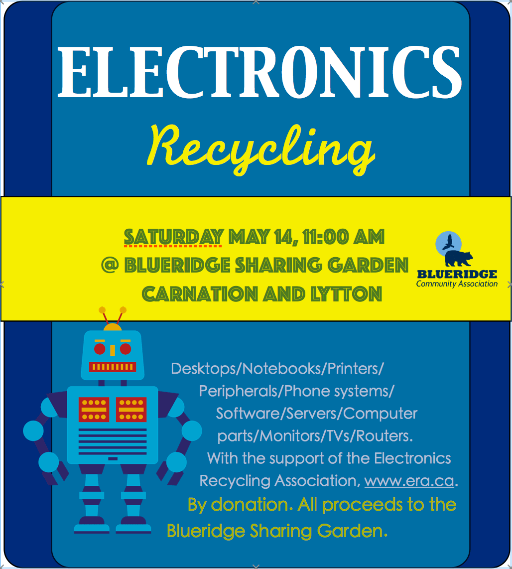 Electronics Recycling this Saturday May 14th at the Sharing Garden