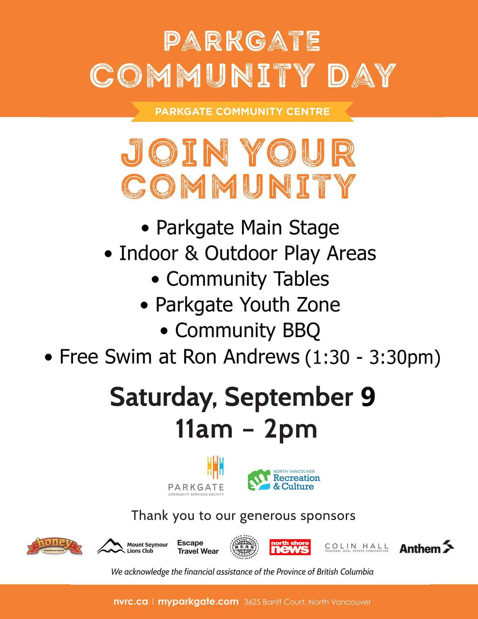 Parkgate Community Day Saturday Sept 9th