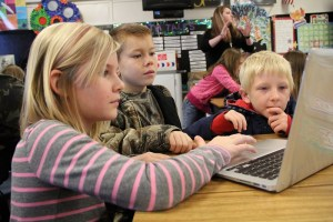 Children using computers in the classroom
