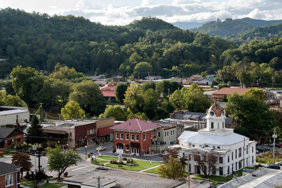Aerial View of Bryson City NC