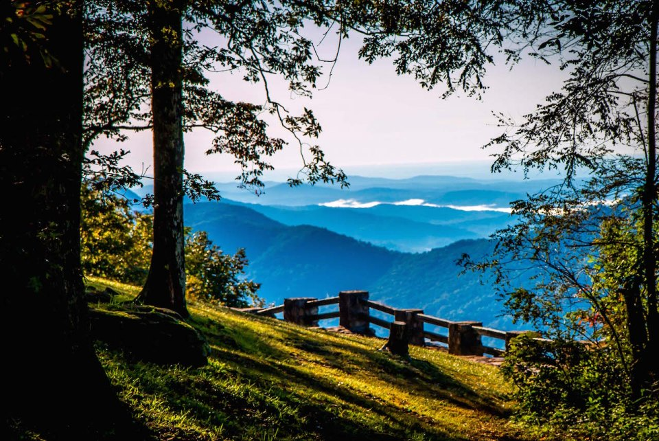 Blue RIdge Mountains seen from overlook in Black Rock Mountain State Park
