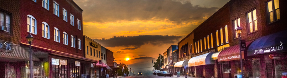 Main St in Franklin, NC at Sunset