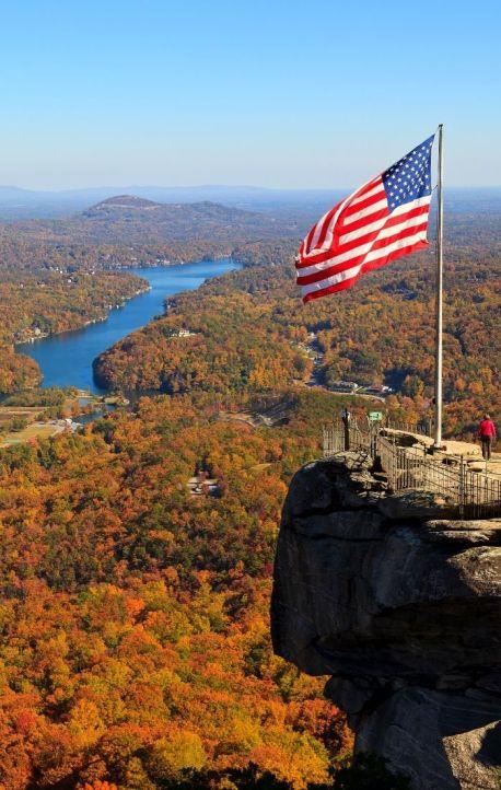 Fall colors in Western North Carolina at Chimney Rock