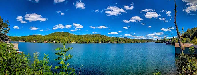 Panoramic view of Lake Burton in North Georgia