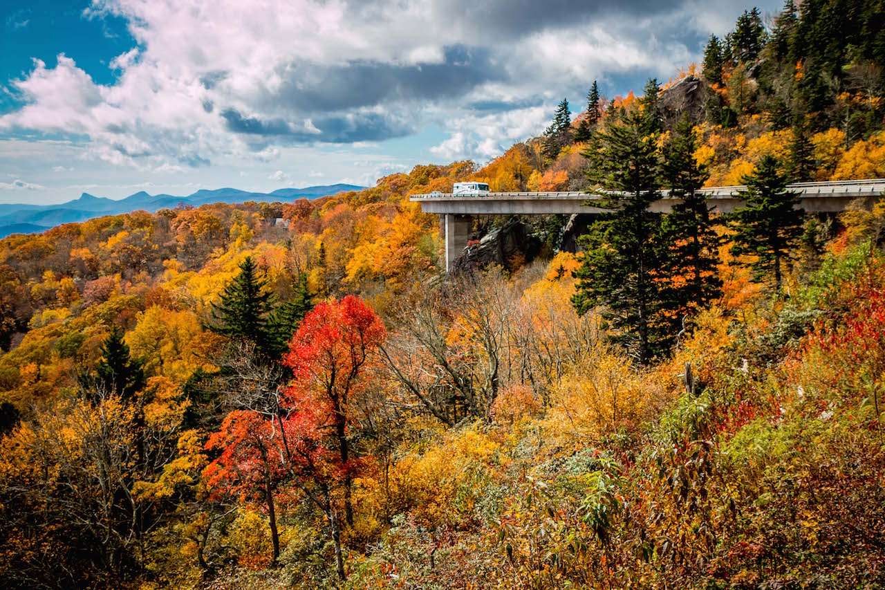 Autumn Leaves at the Linn Cove Viaduct on the Blue Ridge Parkway