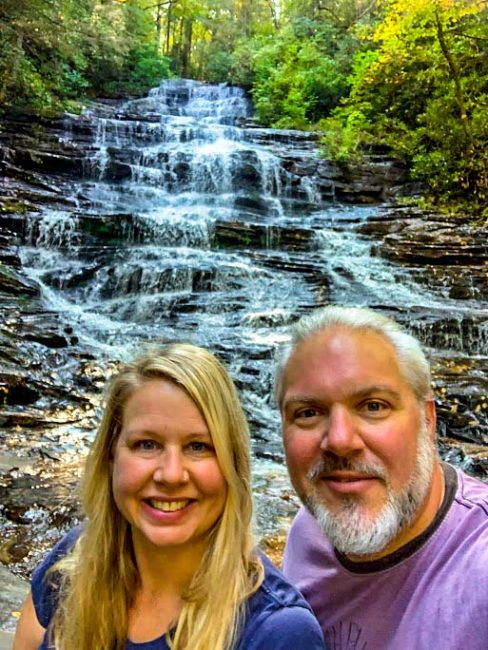 Bret Love & Mary Gabbett of BLue Ridge Mountains Travel Guide at Minnehaha Falls, GA