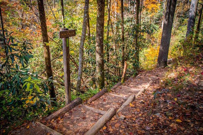 Start of Helton Creek Falls Trail in Blairsville GA