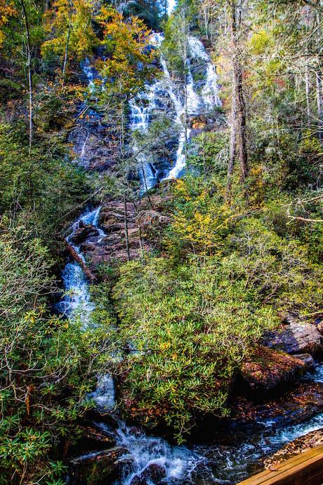 Vertical shot of Dukes Creek Falls near Helen GA