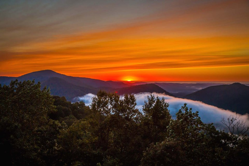 Sunrise over the Blue Ridge Mountains in Black Rock Mountain State Park