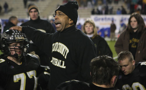 Floyd County High School football coach Winifred Beale at the state championship football game in 2008.