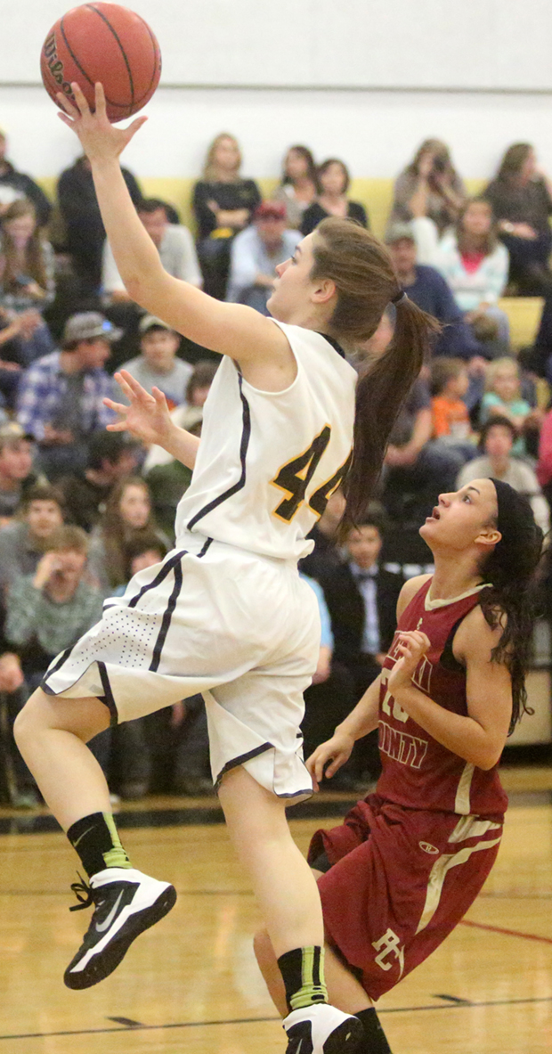 Hanah Belshan of the Lady Buffs moves in for a score in the 86-48 win.