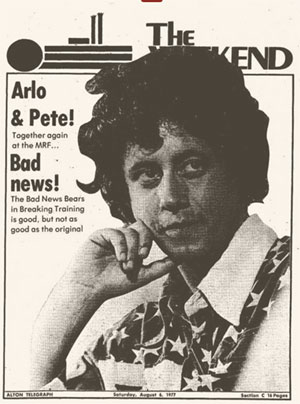 Arlo Guthrie on the newspaper weekend magazine cover.