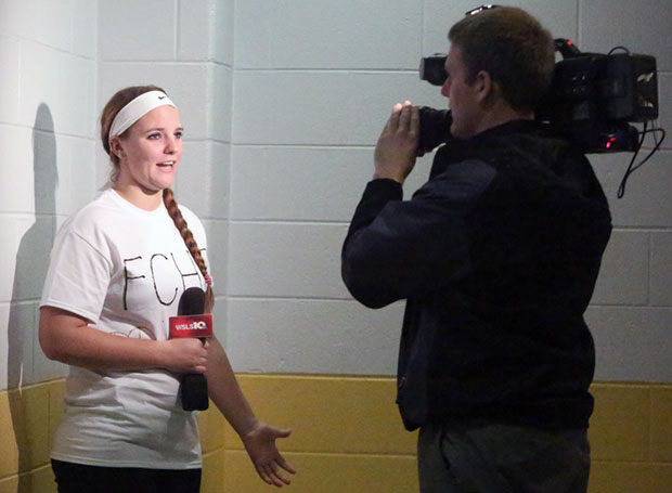 Amanda Hollandsworth of the Lady Buffs is interviewed about Tanner.