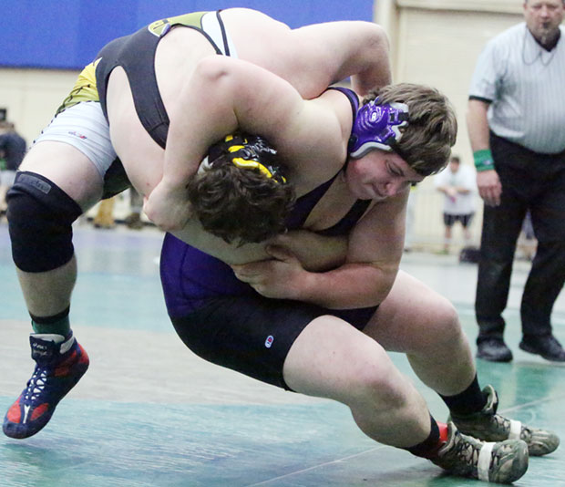 Jefff Keyton goes down in a match that ended with a pin.