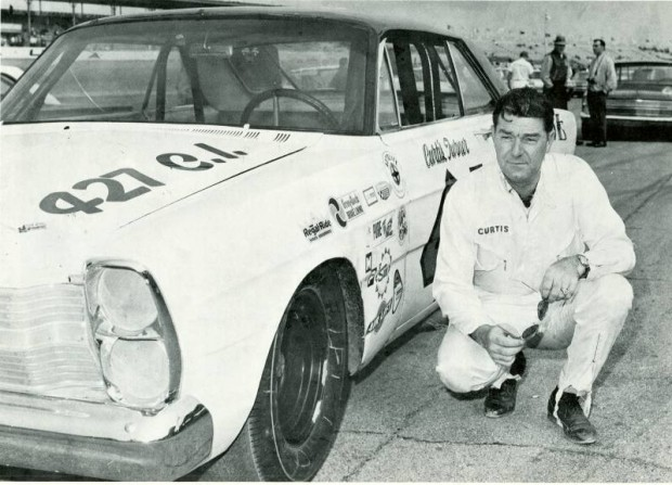 Curtis Turner with his Wood Brothers Ford in 1966.
