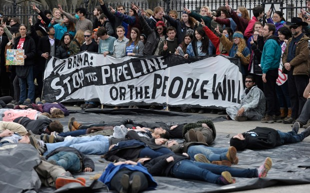 An anti-pipeline protest in Washington in March of this year. No, Obama can't stop the proposed natural gas pipeline running through Floyd County but the people might. (AP Photo/Susan Walsh)