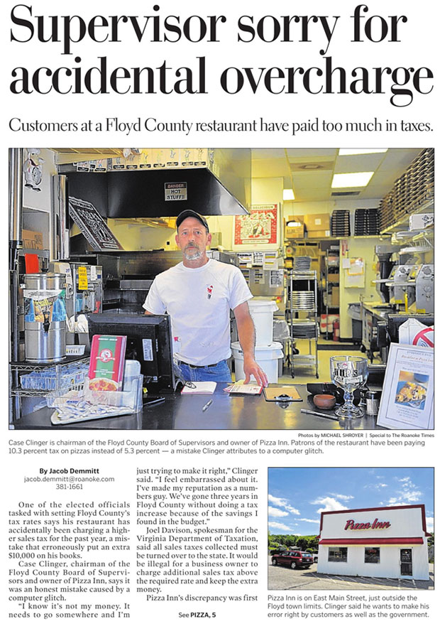 The Roanoke Times story on Page One of Friday's paper.