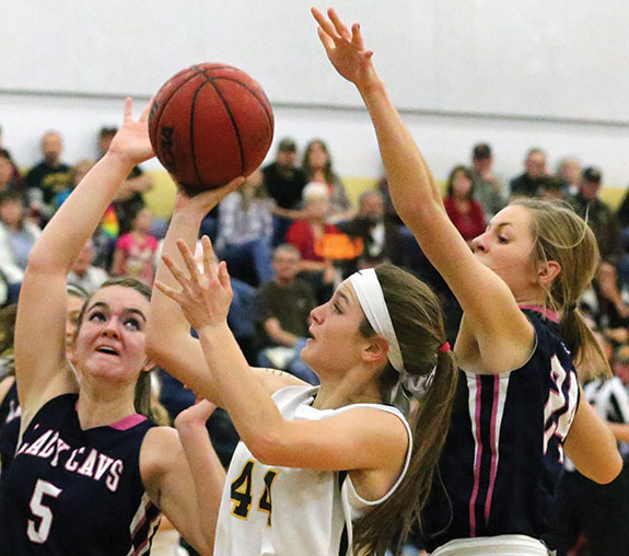 Hannah Belshan goes in for the shot (Photo from last week's win over Carroll County)