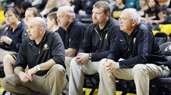 Floyd County coaches watch the action unfold in state semi-final.