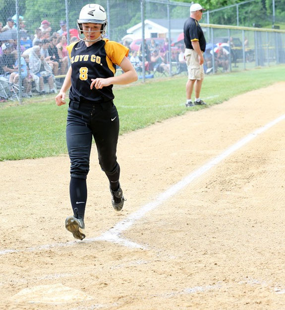Amanda Whitlock scored the winning run in 11th inning (photos from earlier region playoff game this season).