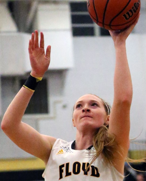 Ragan Wiseman of the Lady Buffaloes: 24 points in a strong win over Radford. (Photos by Doug Thompson)