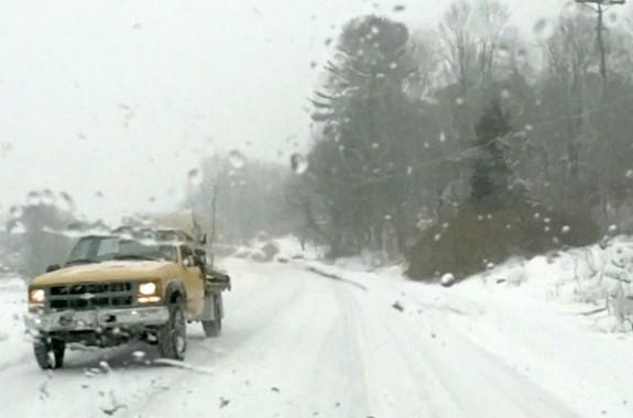 Snow-covered U.S. 221 at Pine Creek north of Floyd.