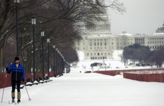 Getting around on the Washington Mall during a blizzard in 2003.