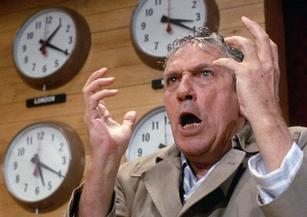 "Howard Beale in the movie ""Network."" A mad prophet of the airwaves."