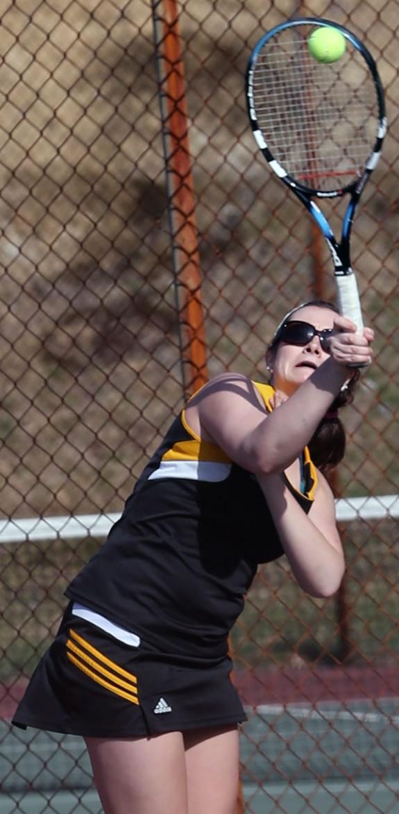 Tennis action Thurssday at Floyd County High School.