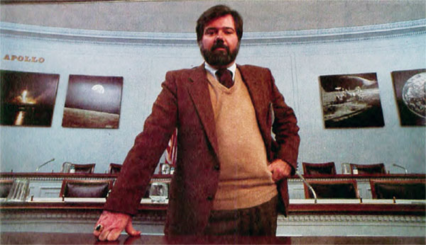 Caption from MacWorld: Doug Thompson, administrative assistant to Congressman Dan Burton, is Capitol Hill's unofficial Macintosb expert. He uses Macs to run a completely automated office.