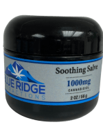 Picture of Blue Ridge Extractions 1000mg CBD soothing salve 2 ounce / 56g round black jar double walled