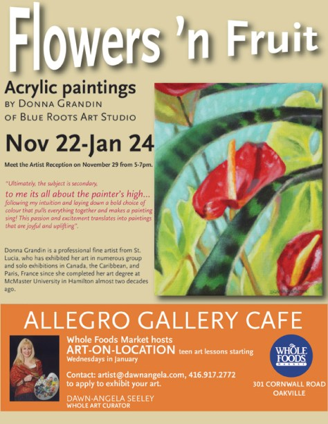 Flowers 'n Fruit - solo exhibition by Donna Grandin