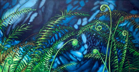 "Fernscape 2, 24""x48"", acrylic on canvas, ©2014 Donna Grandin. $1800.00"