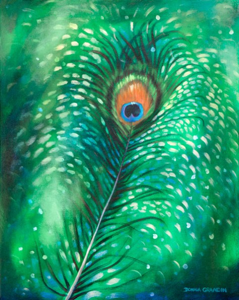 peacock feather abstraction, green