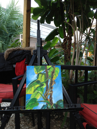 """Entwined"" on my easel in the conservatory at the Burlington Art Center"