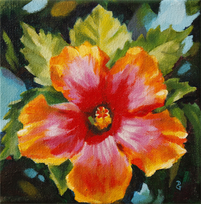 "Hibiscus gem2, 6""x6"", acrylic on canvas, © 2014 Donna Grandin"