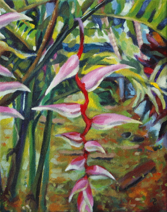 "Sexy pink heliconia, 10""x8"", acrylic on canvas, © 2014 Donna Grandin"
