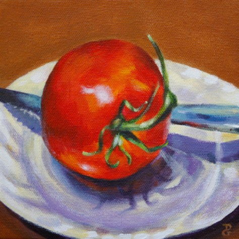 "Tomato still-life, 6""x6"", acrylic on canvas, © 2014 Donna Grandin. $100."