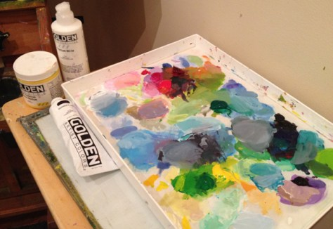 My Staywet palette and acrylic paints