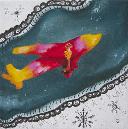 "Flights of fancy, 8""x8"", acrylic on canvas, © 2014 Donna Grandin."