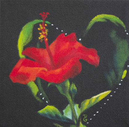 "Valentine hibiscus, 6""x6"", acrylic on canvas, © 2014 Donna Grandin. Sold"